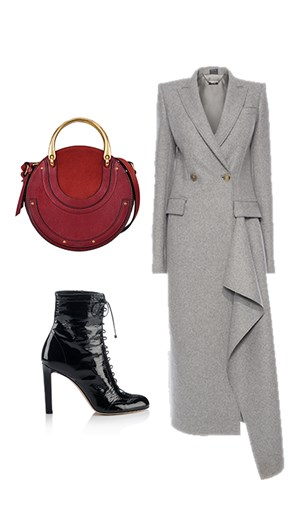 Chloé bag, Jimmy Choo shoes, Alexander McQueen coat