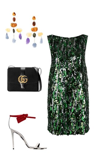 Prada dress, Gucci bag, Off White heels, Cult Gaia earrings