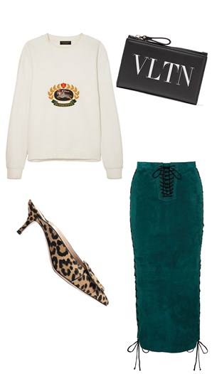 Burberry sweater, Unravel skirt, Gianvito Rossi shoes, Valentino bag