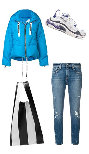 KhrisJoy puffer jacket, Rag & Bone jeans, Balenciaga shoes and bag