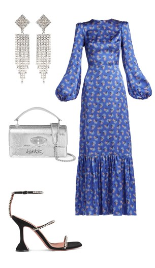 The Vampire's Wife dress, Miu Miu bag, Amina Muaddi shoes, Alessandra Rich earrings