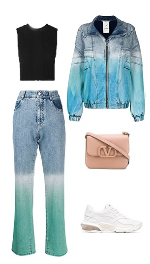 Dion Lee Top, Stella McCartney Jeans Pant and Jacket, Valentino Bag and Sneakers