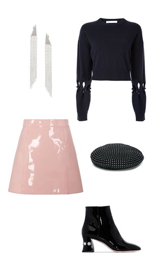Dion Lee sweater, Pucci Skirt, Miu Miu Boots, Saint Laurent Earings and Beret