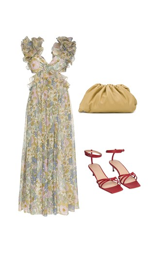 Zimmermann dress, Bottega Veneta Bag, By Far Sandals