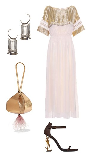 Chloé dress, Saint Laurent earrings and shoes, The Volon bag