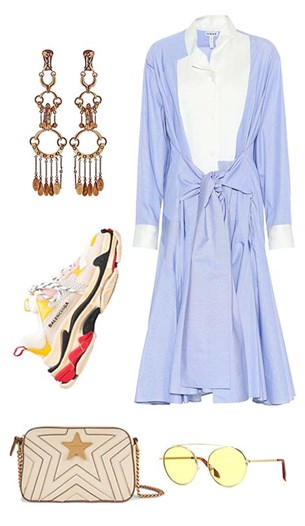 Loewe dress, Chloé earrings, Balenciaga sneakers, Stella McCartney bag, Victoria Beckham sunglasses