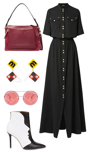 Balmain dress, Chloé Roy bag, Miu Miu earrings, Fendi sunglasses, Malone boots