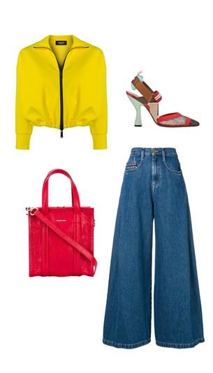 Dsquared2 jacket, Diesel jeans, Balenciaga bag, Fendi heels