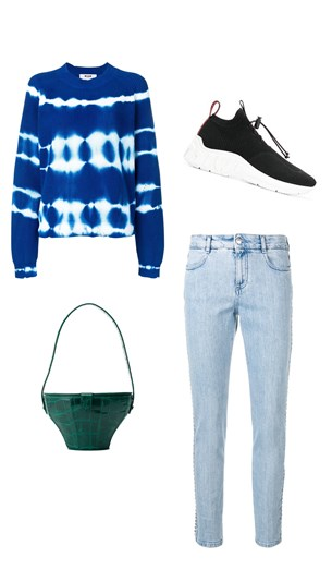 MSGM sweater, Stella McCartney jeans, Staud bag, Miu Miu sneakers