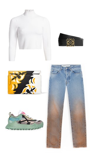 Heron Preston Top, Loewe Belt and Clutch, Off-White Jeans and Sneakers
